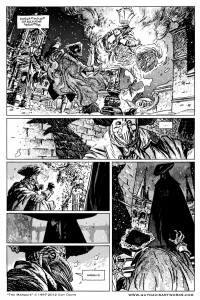 "A select page from Guy Davis' graphic novel ""The Mrguis: Inferno"" pulsing with gloriously rendered details."
