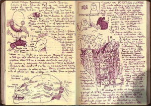 "Images from Guillermo Del Toro's notebook for his film ""Hellboy 2: The Golden Army."""