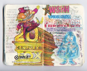 One of the many, image-rich pages from one of JJ Villard's multitude of sketchbooks.