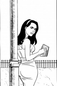 One of Jaime Hernandez's black-and-white drawing gracing the pages of the deluxe edition of This is How You Lose Her.
